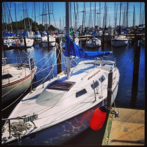 Our new (to us) boat: a Columbia 7.6 m sailboat.
